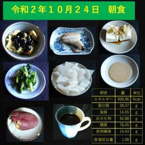 山本84歳・食事療法の記録・令和2年10月24日の食事