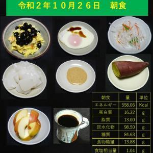山本84歳・食事療法の記録・令和2年10月26日の食事