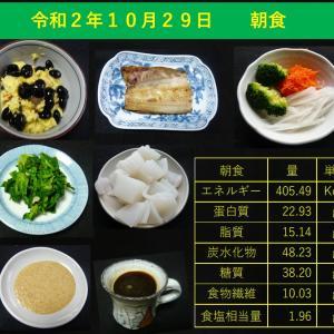 山本84歳・食事療法の記録・令和2年10月29日の食事