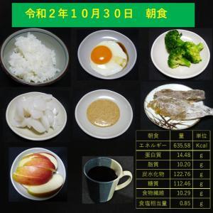 山本84歳・食事療法の記録・令和2年10月30日の食事