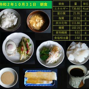 山本84歳・食事療法の記録・令和2年10月31日の食事
