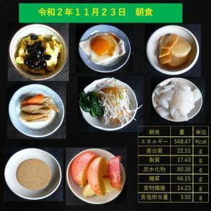 山本84歳・食事療法の記録・令和2年11月23日の食事