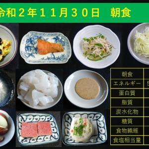 山本84歳・食事療法の記録・令和2年11月30日の食事