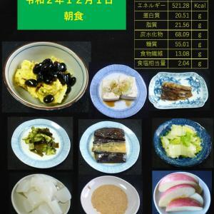 山本84歳・食事療法の記録・令和2年12月1日の食事
