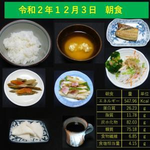 山本84歳・食事療法の記録・令和2年12月3日の食事