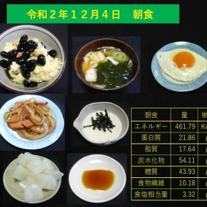 山本84歳・食事療法の記録・令和2年12月4日の食事