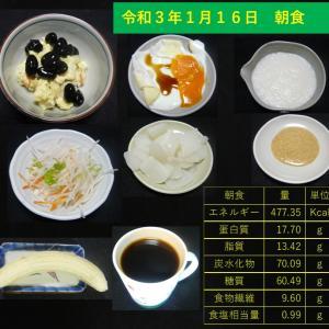 山本84歳・食事療法の記録・令和3年1月16日の食事