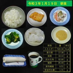 山本84歳・食事療法の記録・令和3年1月19日の食事
