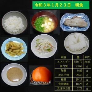 山本84歳・食事療法の記録・令和3年1月23日の食事