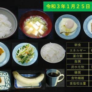 山本84歳・食事療法の記録・令和3年1月25日の食事