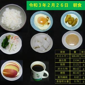 山本84歳・食事療法の記録・令和3年2月26日の食事