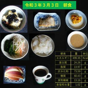 山本84歳・食事療法の記録・令和3年3月3日の食事