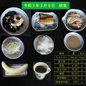 山本85歳・食事療法の記録・令和3年3月6日の食事