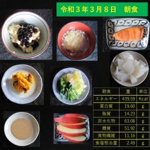 山本85歳・食事療法の記録・令和3年3月8日の食事
