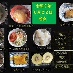 山本85歳・食事療法の記録・令和3年6月22日の食事