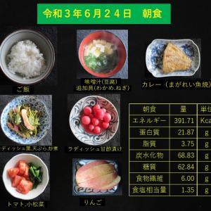 山本85歳・食事療法の記録・令和3年6月24日の食事