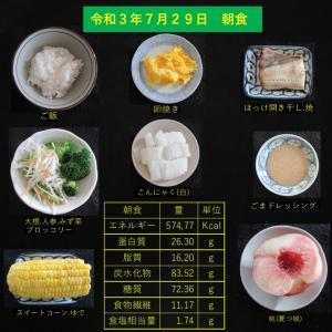 山本85歳・食事療法の記録・令和3年7月29日の食事