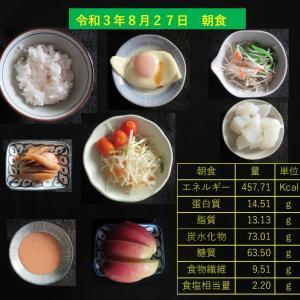山本85歳・食事療法の記録・令和3年8月27日の食事