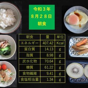 山本85歳・食事療法の記録・令和3年8月28日の食事