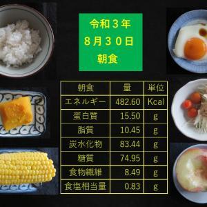 山本85歳・食事療法の記録・令和3年8月30日の食事