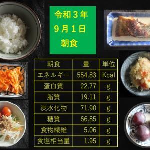 山本85歳・食事療法の記録・令和3年9月1日の食事