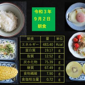 山本85歳・食事療法の記録・令和3年9月2日の食事