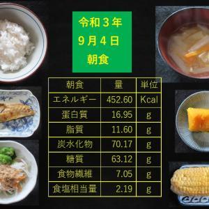 山本85歳・食事療法の記録・令和3年9月4日の食事