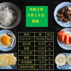 山本85歳・食事療法の記録・令和3年9月18日の食事