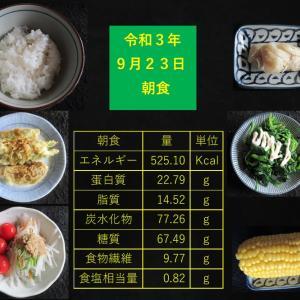 山本85歳・食事療法の記録・令和3年9月23日の食事