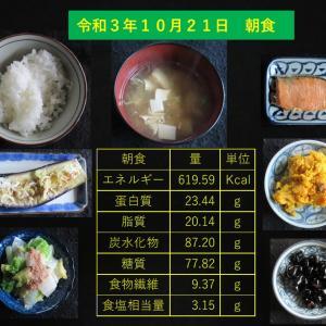 山本85歳・食事療法の記録・令和3年10月21日の食事