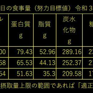 山本85歳・食事療法の記録・令和3年3月(ひと月間)の食事記録の集計
