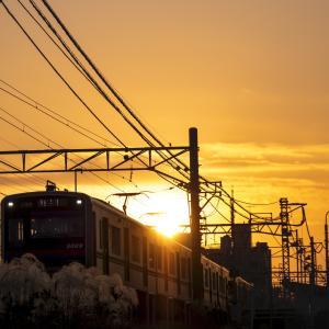 夕日に染まる京成電鉄!