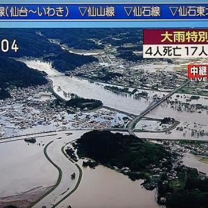 台風19号で丸森町が冠水