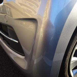 車のバンパーが凹んでいた