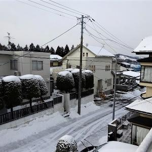 昨夜は吹雪、今朝も積雪 @仙台