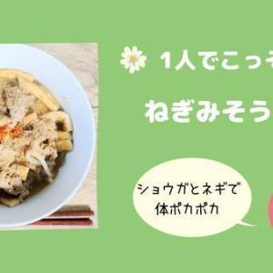 【主婦のひとりごはん】レンチンうどんと麺つゆで簡単。体あったまるねぎみそうどん