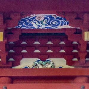 栃木市 岩船山高勝寺で初詣 その6 三重塔の蟇股の「十二支」と「波と花」の彫刻