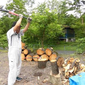 意地でも斧で薪割り…