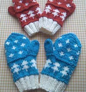 手編みのミトン