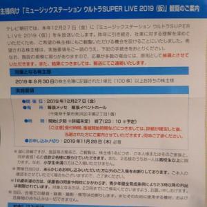 11月12日【 9409テレビ朝日ホールディングス】から株主優待が届いた(Mステの抽選)