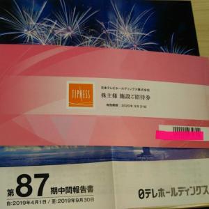 12月5日【9404日本テレビHD】からティップネスの株主優待到着
