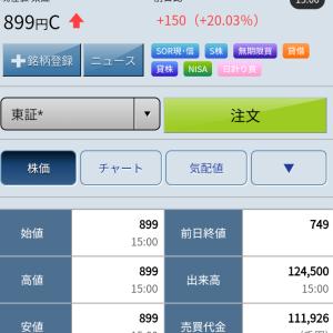 12月12日 久しぶりに持株がストップ高【3320クロスプラス】\(^_^)/