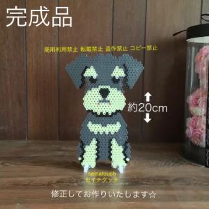 部活と、アイロンビーズ☆六角L結合+四角S★犬猫のオブジェシリーズ ミニチュア・シュナウザー
