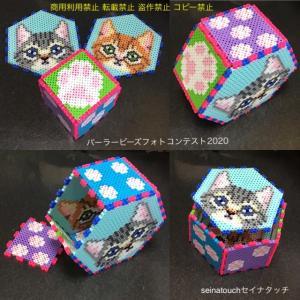 イソジンと、アイロンビーズ☆六角L+四角L★ラバトラ猫と茶トラのサイコロ兼小物入れ♪