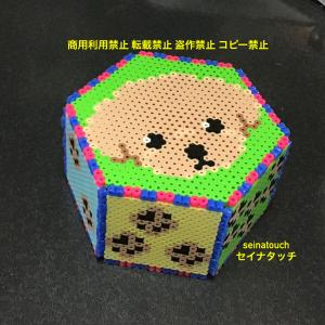 アイロンビーズ☆六角L+四角L★トイプードルの肉球サイコロパズル