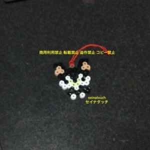 アイロンビーズ☆六角S★ロングコートチワワ ブラックタン キーホルダー♪