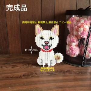 アイロンビーズ☆六角L結合★柴犬12  白柴③