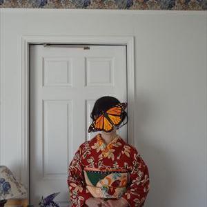 秋薔薇着物と小鳥の帯