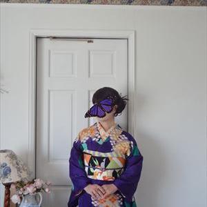アールデコな紫陽花の着物