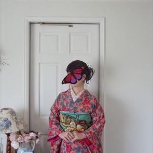 オンラインお茶会 ローズピンクの小紋